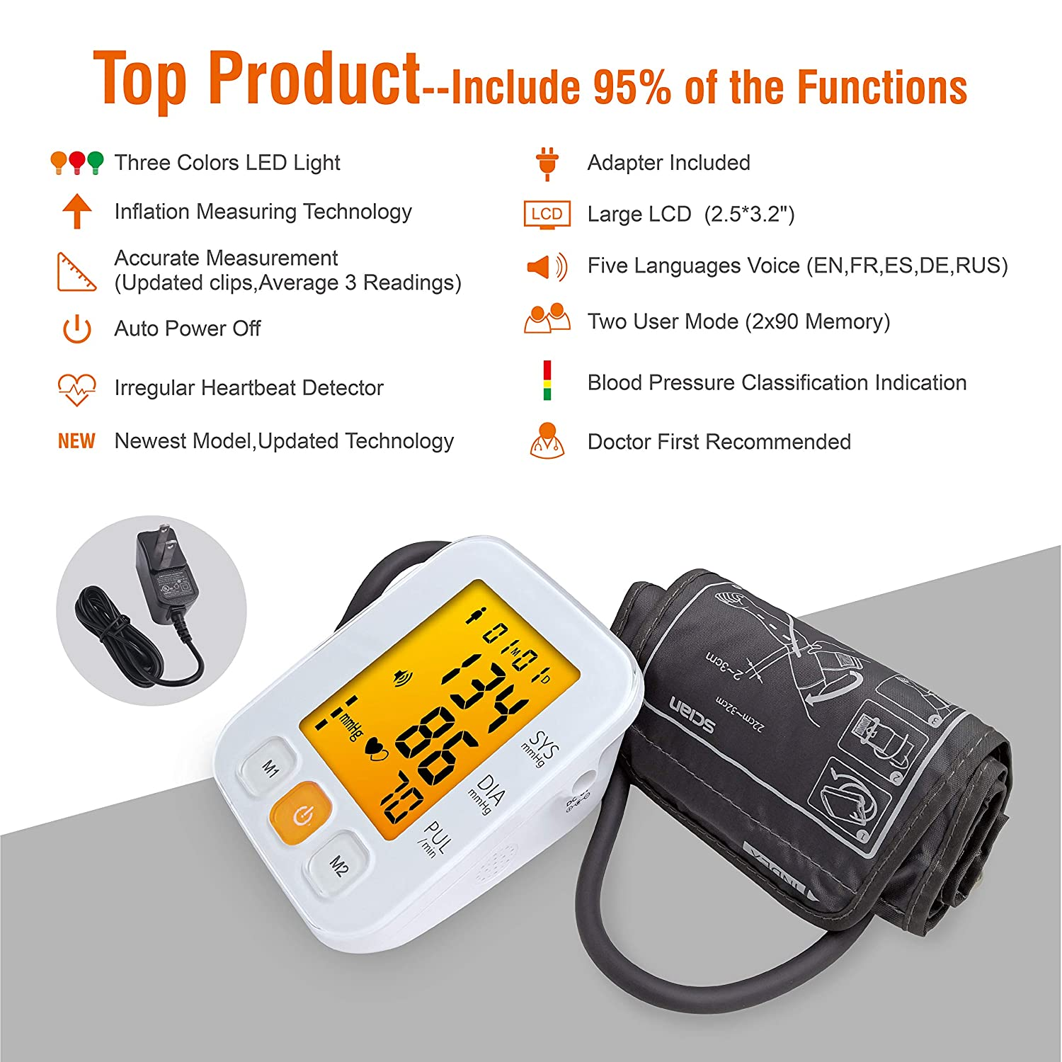 SCIAN Digital Blood Pressure Monitor Upper Arm – Adapter, 3 Colors LED, 5 Voices, 2×90 Memory Blood Pressure Machine Cuff Accurate Automatic Measure BP Monitor Device for Home Clinical Use