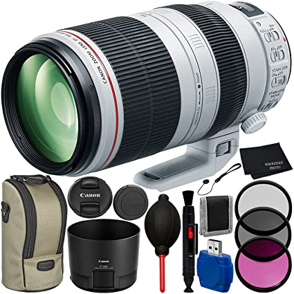 Canon EF 100-400mm f/4 5-5 6L IS II USM Lens Bundle with Manufacturer  Accessories & Accessory Kit for EOS 7D Mark II, 7D, 80D, 70D, 60D, 50D,  40D,