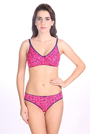 b20513bcca Women s Dark Pink Printed Bra And Panty Set by Valentine  Amazon.in   Clothing   Accessories