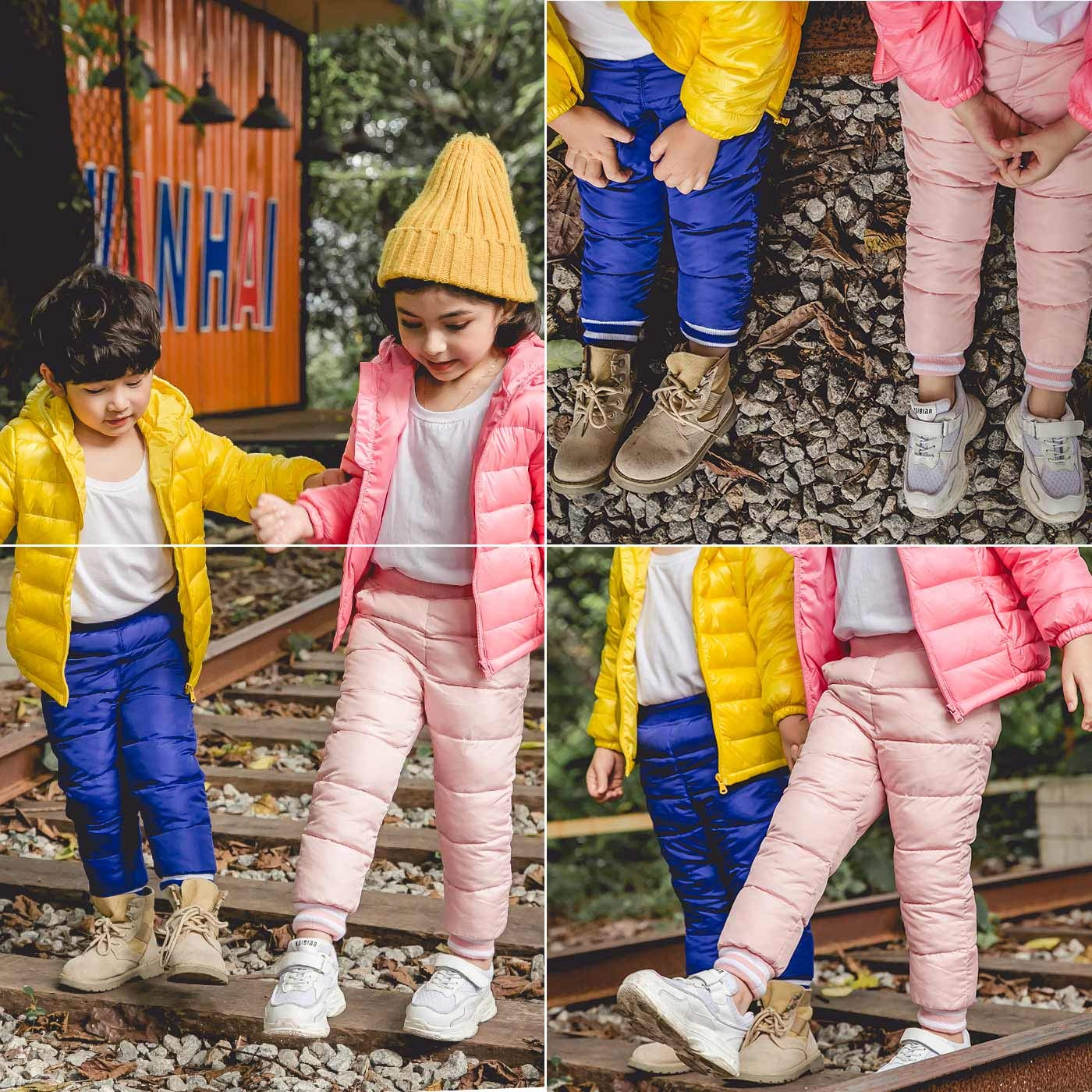 Kids Baby Boys Girls Winter Warm Pants Thick Down Cotton Leggings Trousers Navy for 12-24M