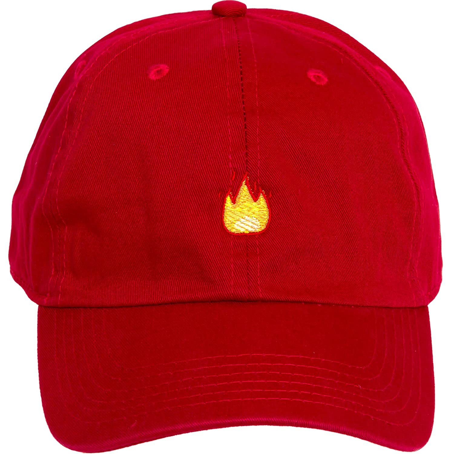 dc63b375456 Amazon.com   Newhattan Flame Emoji 100% Cotton Adjustable Dad Hat   Sports    Outdoors
