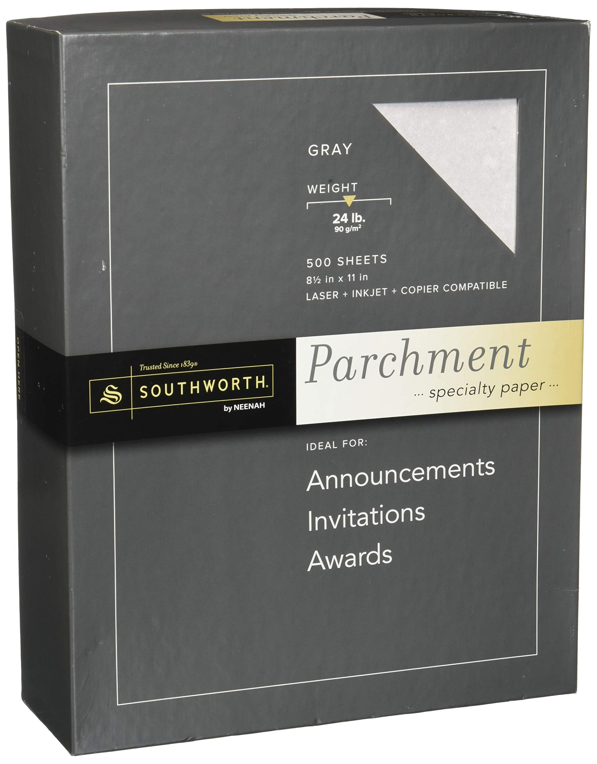 Parchment Specialty Paper, Gray, 24 lbs, 8-1/2 x 11, 500/Box