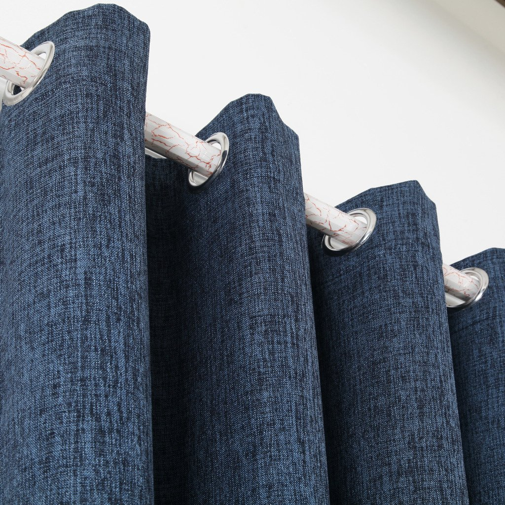 Navy Blue Best Dreamcity Faux Linen Calming Blue Shade Room Darkening Thermal Insulated Solid Grommet Blackout Curtains