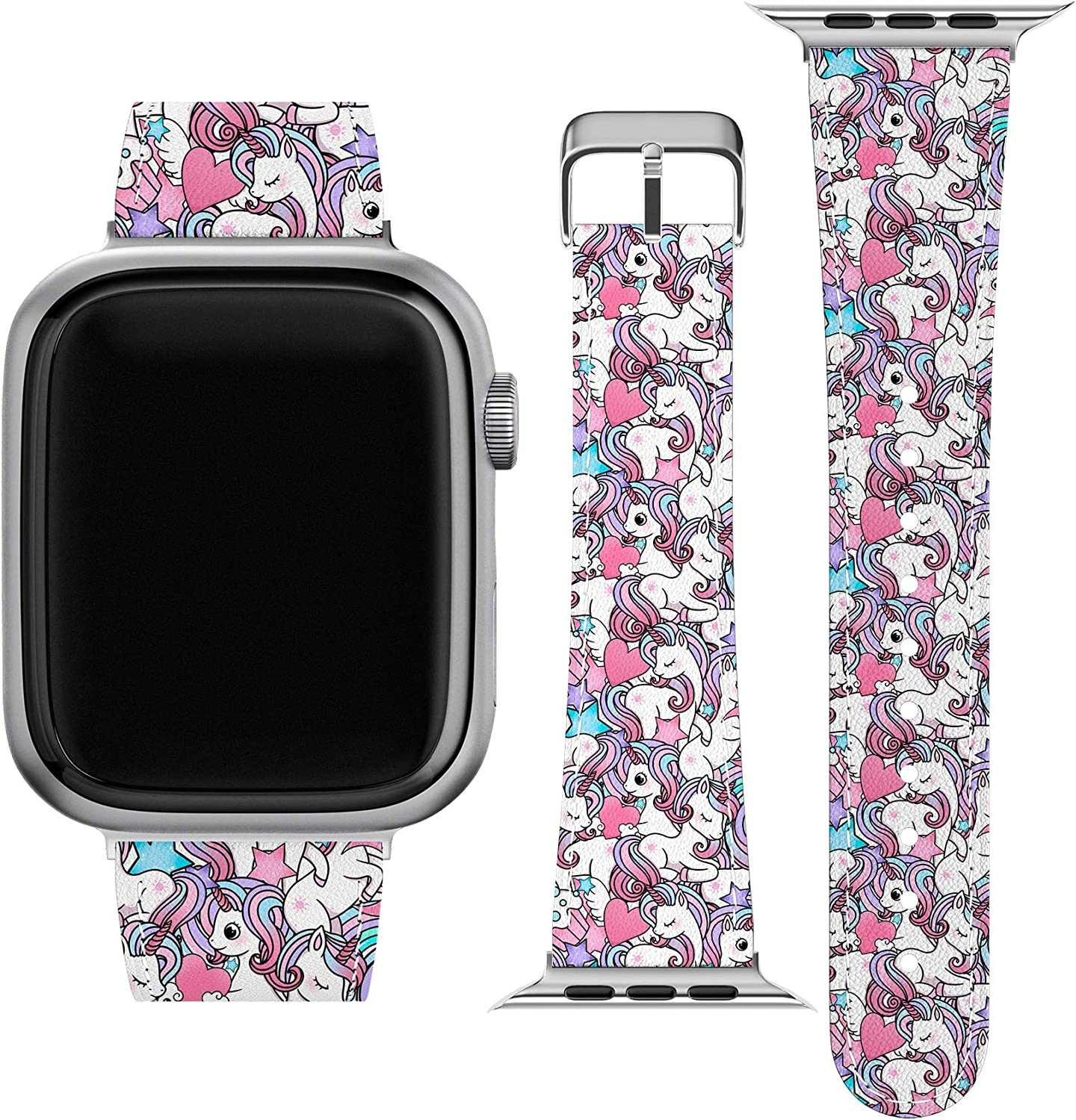 Lex Altern Band Compatible with Apple Watch Series 6 SE 5 4 3 2 1 38mm 40mm 42mm 44mm Unicorns Pony Magical Kawaii Thin Durable Stylish Replacement Strap for iWatch Cute Girly Pink Vegan Leather wh066
