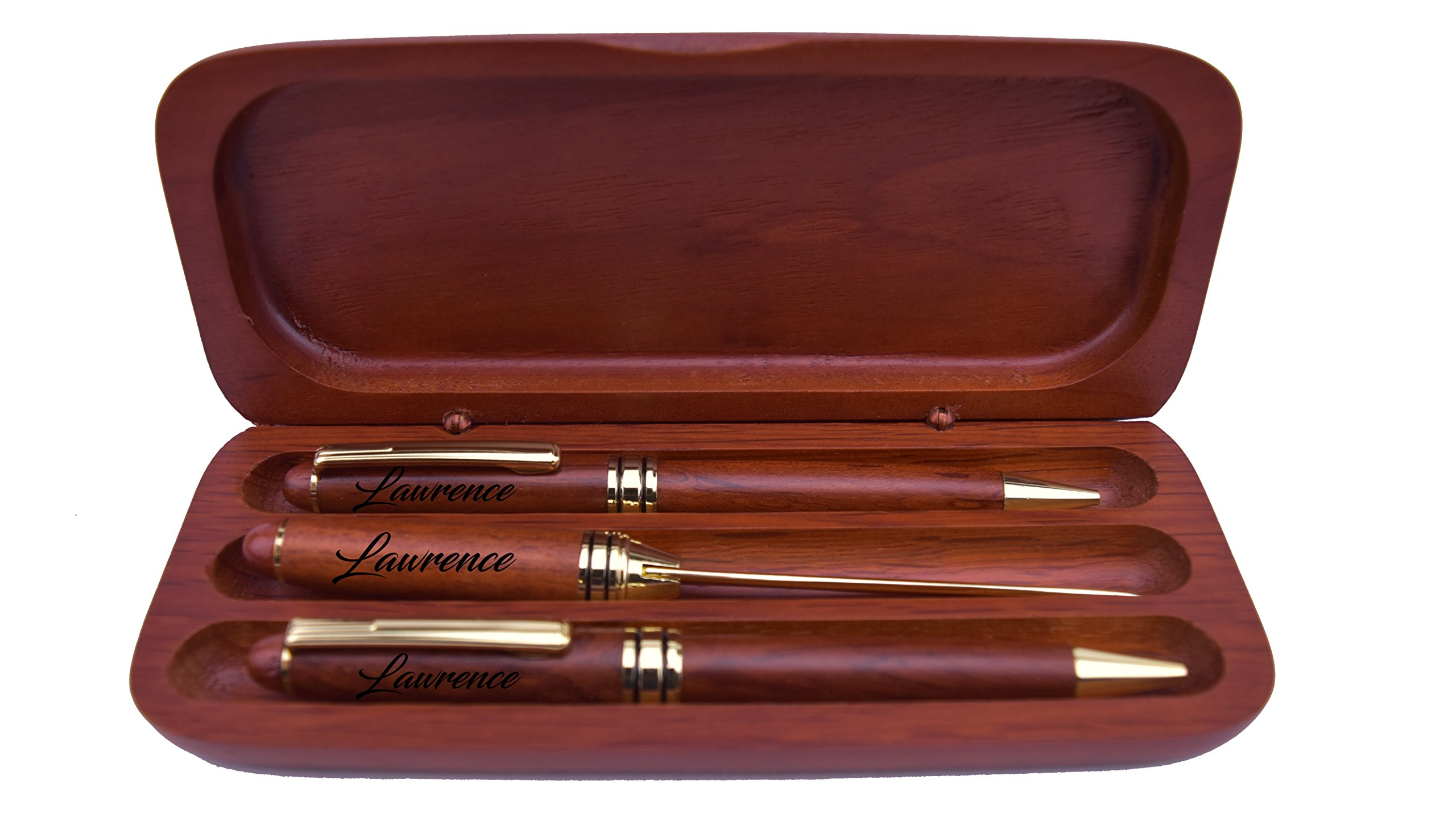 Engraved/Personalized Rosewood Pen, Pencil & Mail Opener Gift Set | Sofia's Findings