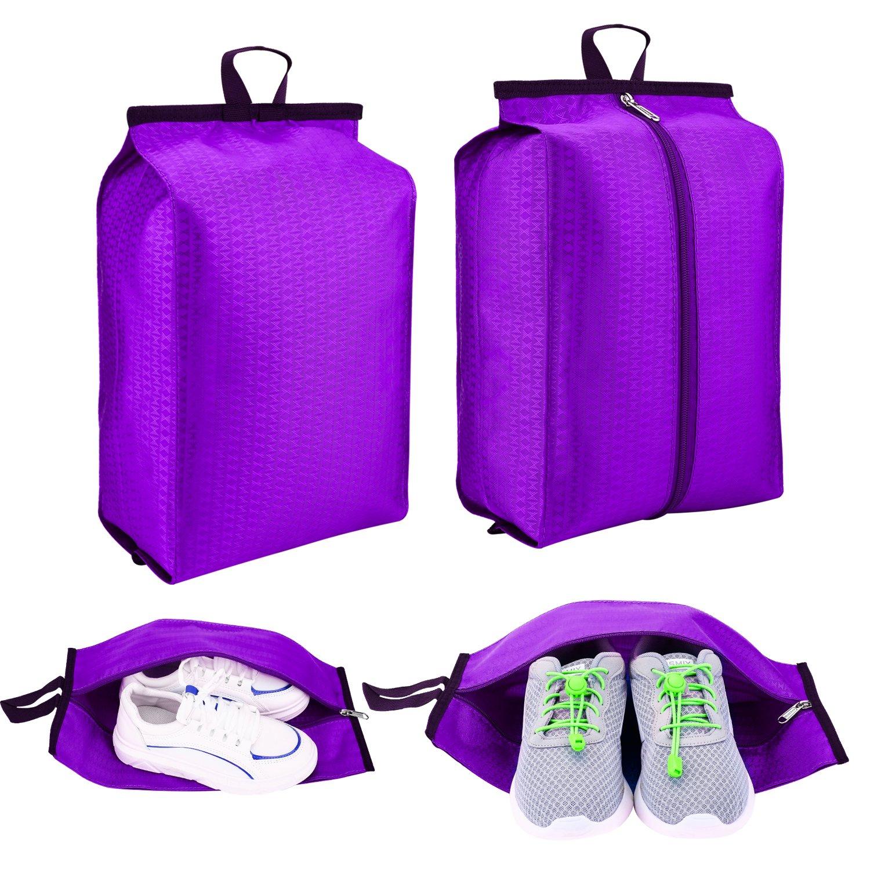 F.FETIVIN Travel Shoe Bags with Zipper Closure Lightweight Waterproof Nylon Storage Bag for Men & Women (Pack 4, Blue) (Purple)
