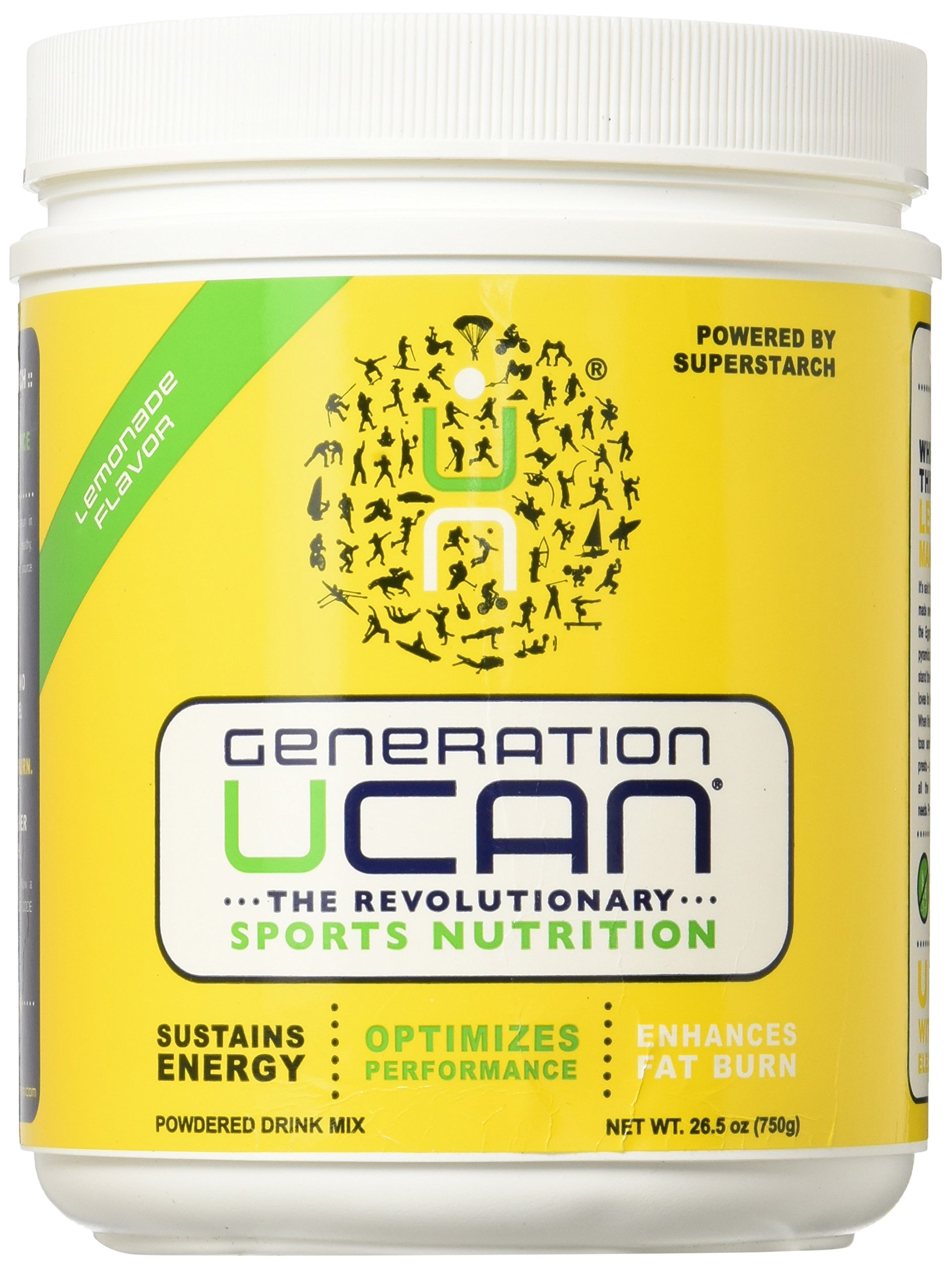 Generation UCAN SuperStarch Energy Drink Mix Tub, Lemonade, No Added Sugar, Gluten-Free, Vegan, 26.5 Ounces, 30 Servings