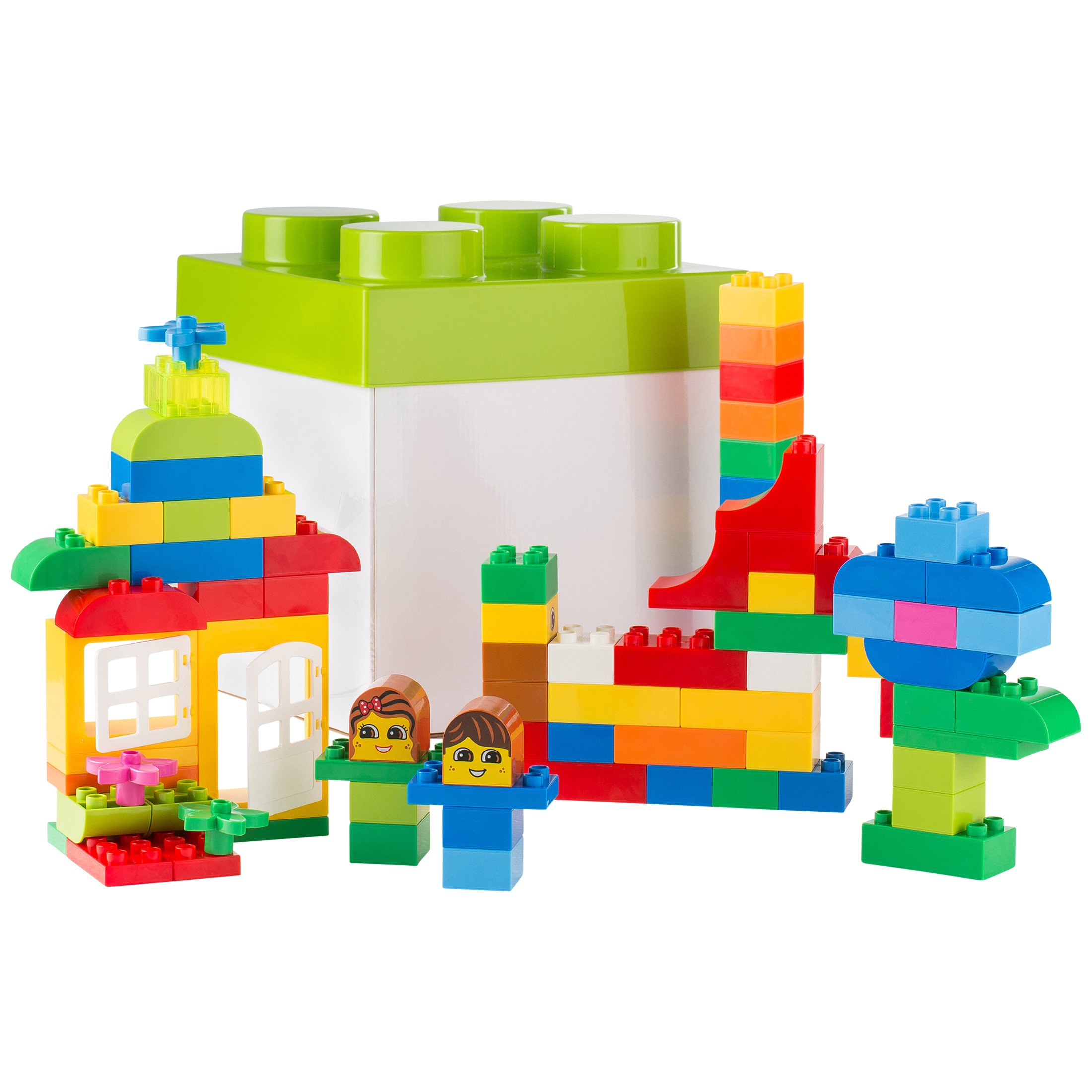 Ultrakidz Building Block Set, 85 Building Blocks from Classic to Special Blocks, Compatible with Lego Duplo - All Building Blocks Come in a Storage Box with a lid That Looks Like a Building Block