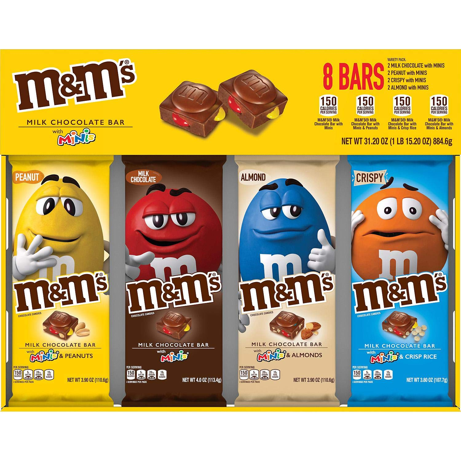 Amazon Com M M S Chocolate Candy Bars With Minis Variety Pack 8 Ct Grocery Gourmet Food