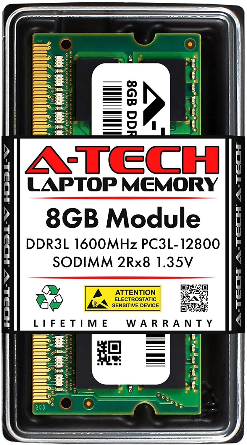 A-Tech 8GB Memory RAM for Dell Inspiron 17 5000 5749 - DDR3L 1600MHz PC3-12800 Non ECC SO-DIMM 2Rx8 1.35V - Single Laptop & Notebook Upgrade Module (Replacement for SNPN2M64C/8G)