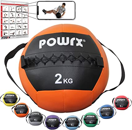 POWRX Wall Ball con Asas Laterales 2 kg - Ideal para Ejercicios de ...