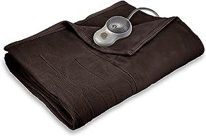Sunbeam Heated Blanket | 10 Heat Settings, Quilted Fleece, Walnut, Twin (Renewed)