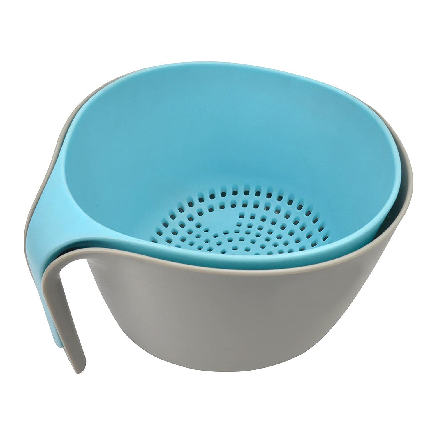 MEISHILOM 2-in-1 Large Nest Washing Colander Bowl Sets & Food Strainers with Long Good Grips for Washing Fruits Vegetable Beans Pasta-Non-Slip Base/Dishwasher-Safe/BPA Free (4.5 Quart)