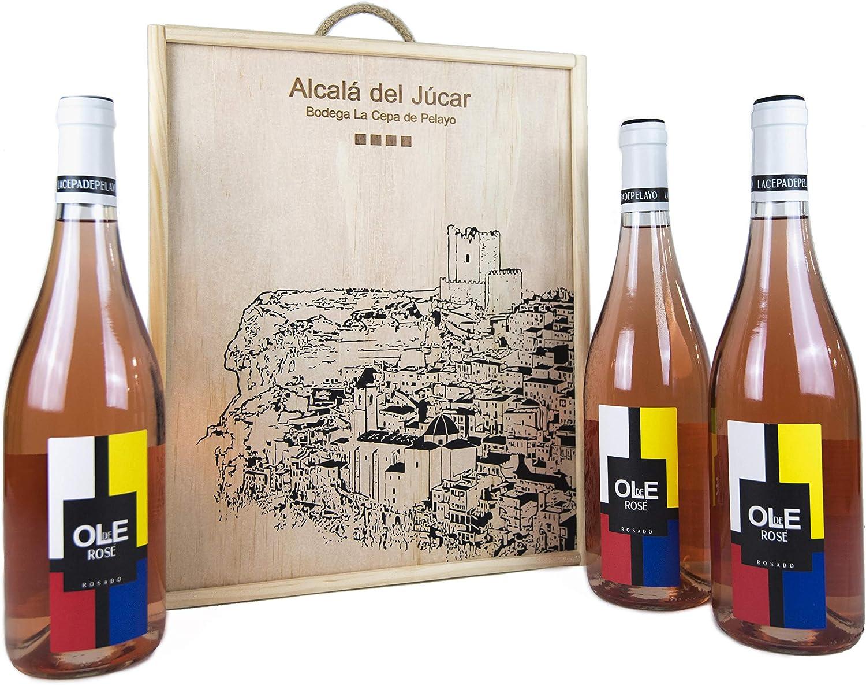 Estuche madera 3 botellas OLE DE ROSÉ Vino rosado joven Bobal 75cl-Añada 2017 D.O.Manchuela: Amazon.es: Alimentación y bebidas