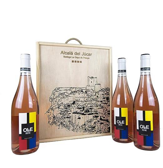 Estuche madera 3 botellas OLE DE ROSÉ Vino rosado joven ...