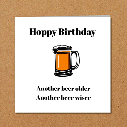 Beer Birthday Card For Boyfriend Husband Male Friend Hops Older