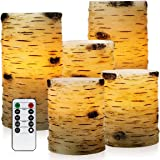 Pandaing Set of 5 Pillar Birch Bark Effect Flameless LED Candles with 10-key Remote Control and 2 4 6 or 8 Hours Timer Function