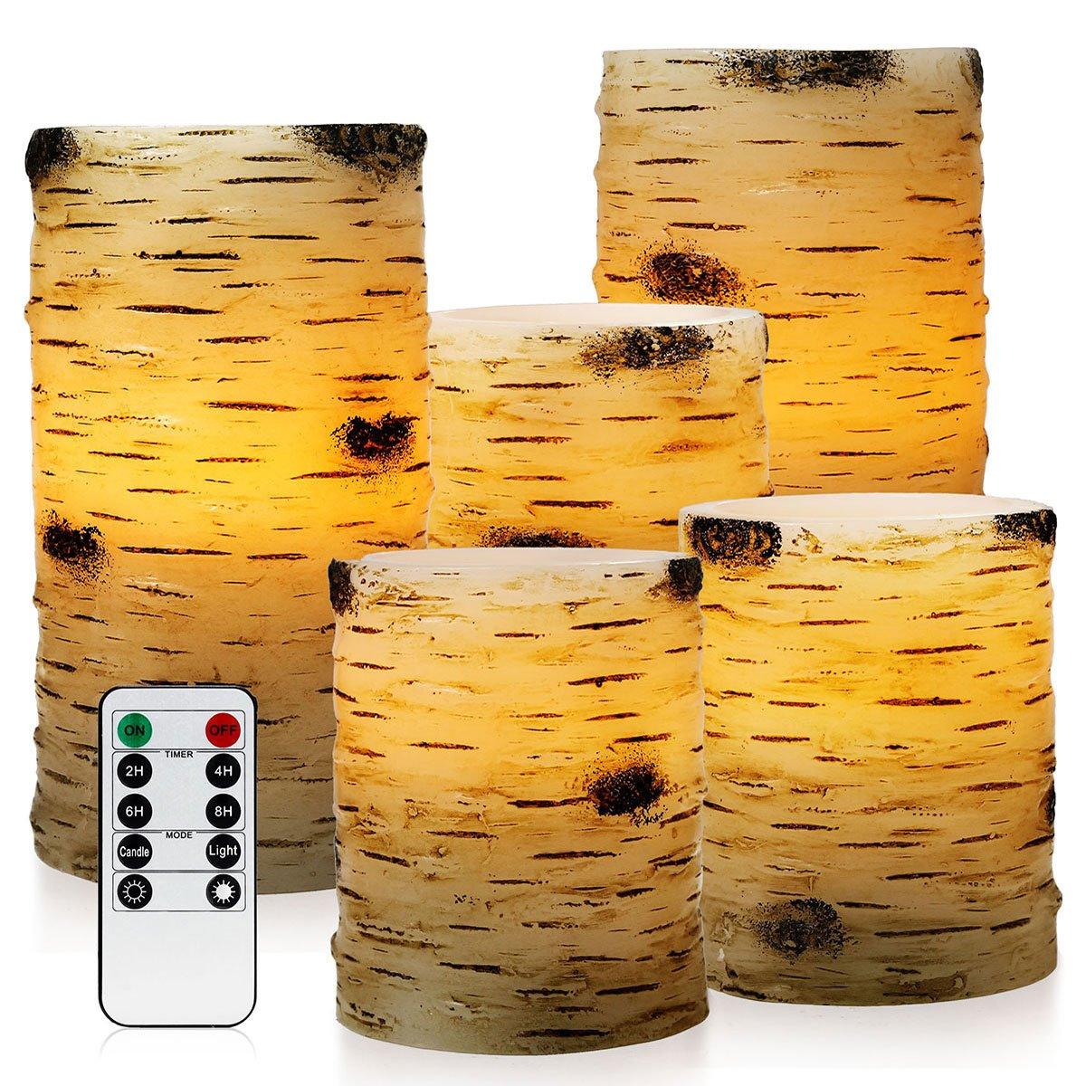 Pandaing Set of 5 Pillar Birch Bark Effect Flameless LED Candles with 10 key Remote Control and 2 4 6 or 8 Hours Timer Function