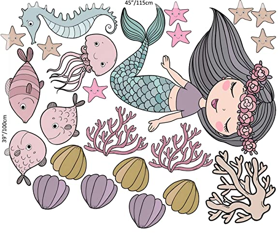 Amazon Com Murwall Mermaid Ariel Wall Decal Underwater Princess Peel And Stick Starfish Removable Sticker Girls Bedroom Colorful Seaweed Wall Print Seahorse Seashell Octopus Wall Sticker Baby Rooms Handmade