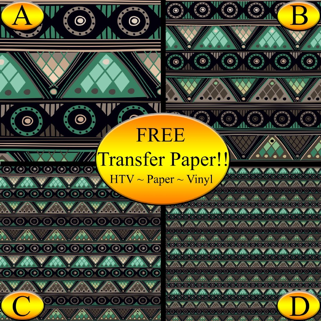 Gray & Green Tribal Pattern Printed Heat Transfer Vinyl (Style C - 12 x 24)