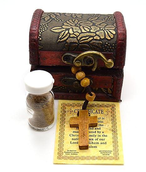 f10fb7534d5 Rosario de perlas de madera de olivo de Jerusalén Tierra Santa oración  católica con botella de
