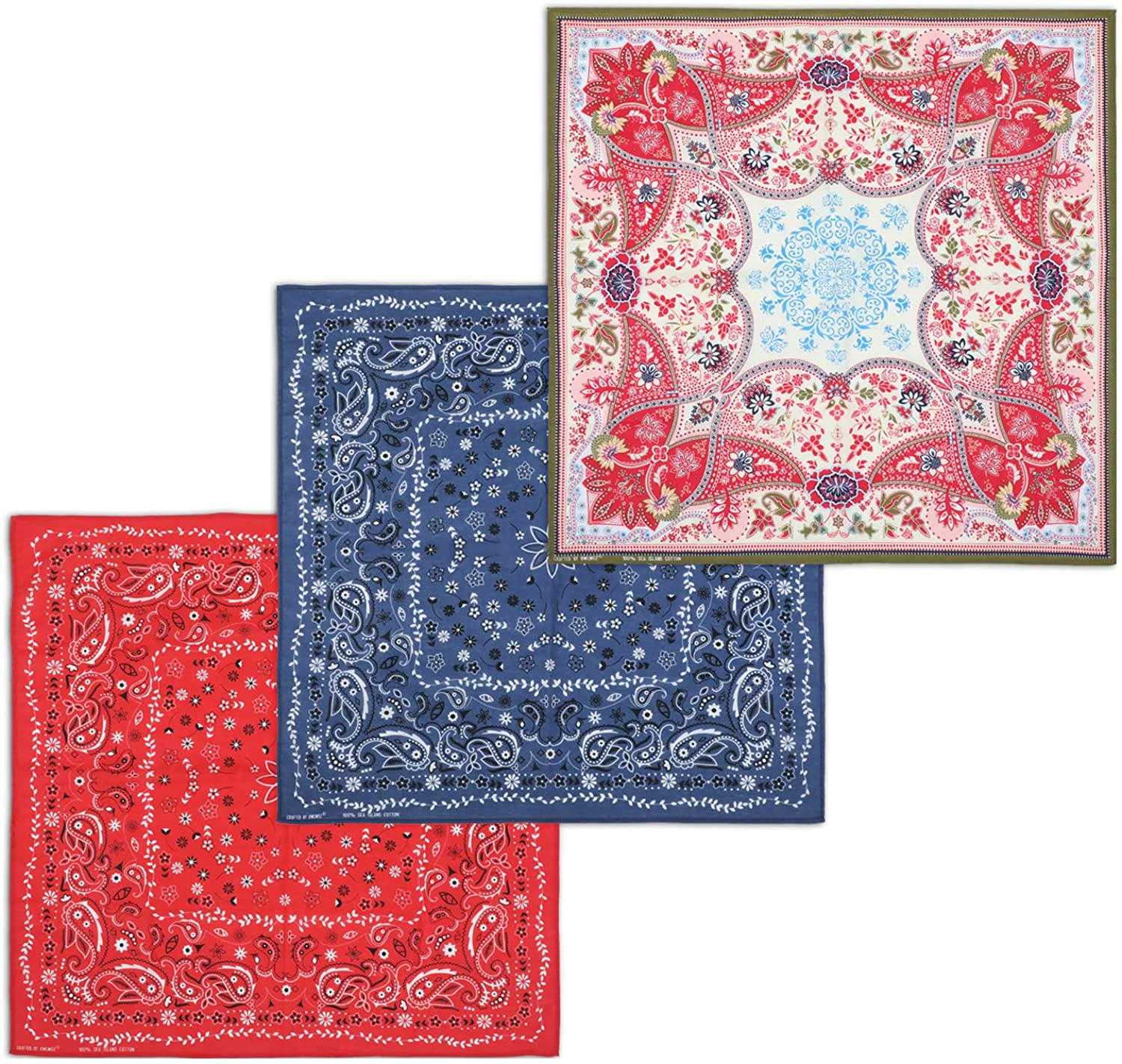 3 Pack Bandanas 100% Combed Cotton Colored Handkerchiefs for Women and Men, Multi-functional Cool Headbands (005): Clothing