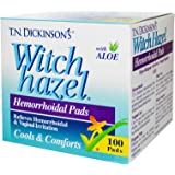 T.N. Dickinsons Witch Hazel Hemorrhoidal Pads with Aloe - 100 Ea