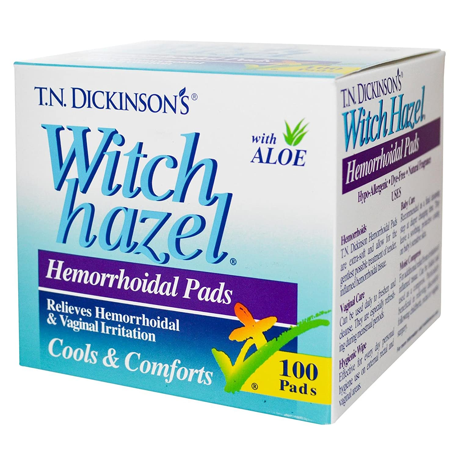 T.N. Dickinsons Witch Hazel Hemorrhoidal Pads with Aloe - 100 Ea: Amazon.es: Salud y cuidado personal