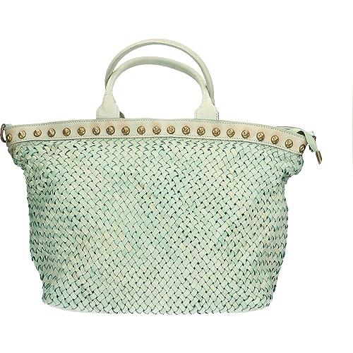 269a68c522 Chicca Borse Borsa a Mano da Donna Vintage in Vera Pelle Intrecciata Made  in Italy 48x30x15 Cm: Amazon.it: Scarpe e borse