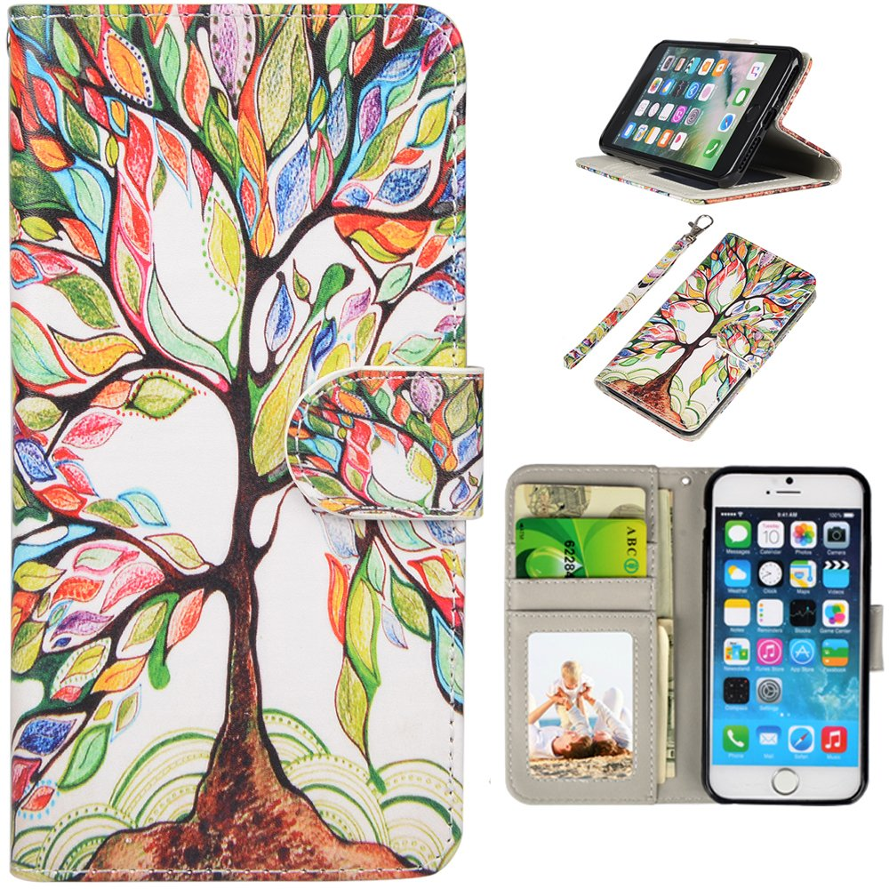 iPhone SE Case, UrSpeedtekLive iPhone SE Wallet Case, Premium PU Leather Funny Case Flip Cover with Card Slots & Stand For iPhone 5/5S/SE, Life Tree Pattern by UrSpeedtekLive (Image #1)