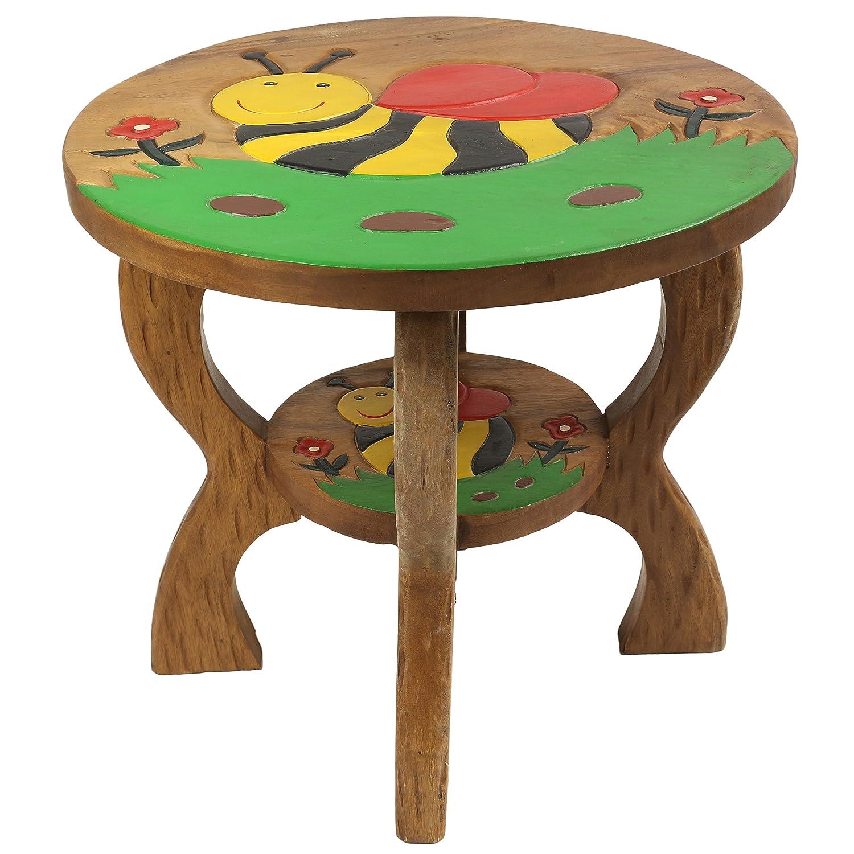 Oriental Galerie Kindertisch Spieltisch für Kinder Biene ca. 50cm Durchmesser & 45cm Höhe Natur Braun Limboholz Holz