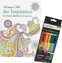 Idena 10122902 - Malbuch für Erwachsene, Motiv Inspiration, inklusive 12 Buntstifte
