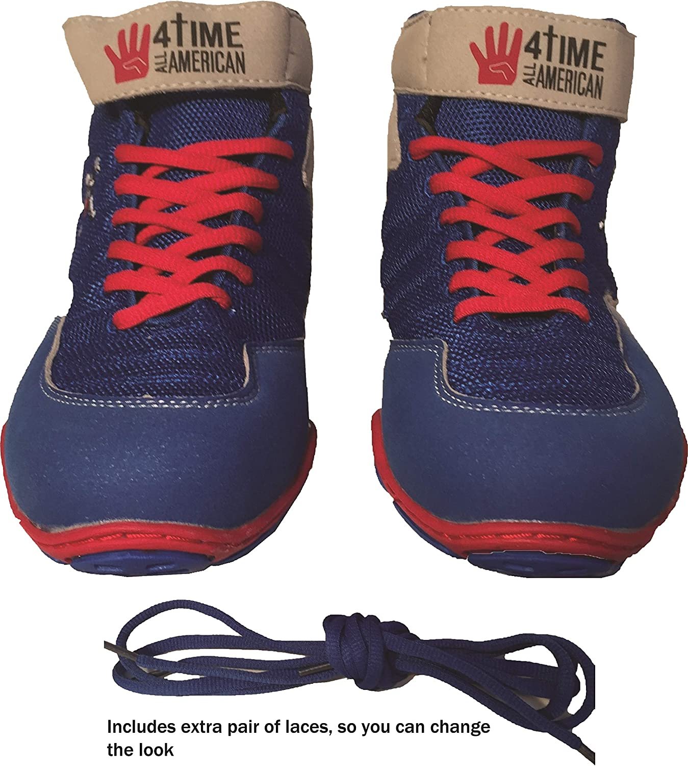 Blue Wrestling Shoes Size 1 4 Time All American The Patriot