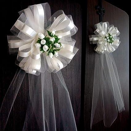 Amazon Com Large Ivory Assembled Wedding Pew Bows With Rosebuds