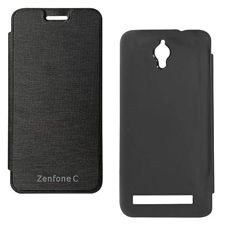 sports shoes 3e789 19a82 DMG PU Leather Flip Cover Case for Asus Zenfone C ZC451CG (Black)