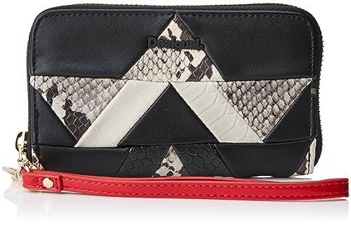 Desigual Mone_snake Patch Mini Zip, Carteras Mujer, Negro, 2x9x15 cm (B x