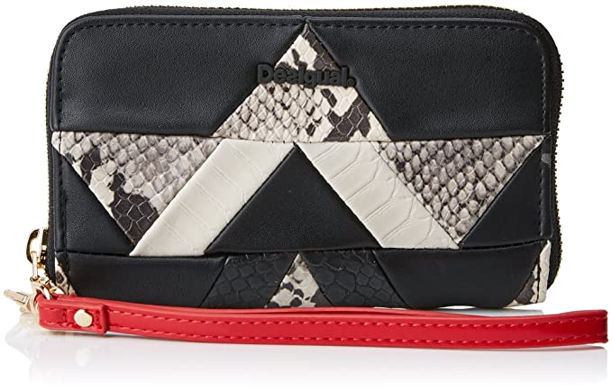 d33b184b06 Desigual Mone_snake Patch Mini Zip - Portafogli Donna, Schwarz (Negro),  2x9x15 cm