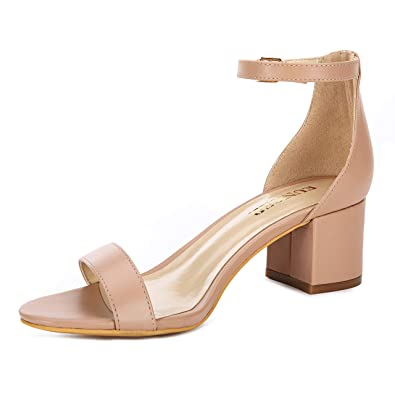 3852093d6a7 Eunicer Women s Single Band Classic Chunky Block Low Heel Sandals with Ankle  Strap Dress Shoes