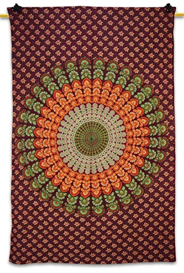 Designer Red Wall Tapestry Mandala Table Runner Print Table Cloth Bed  Spread Wall Décor Twin Size