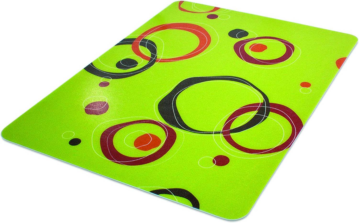 Deflecto RollaMat Decorative Chair Mat, Medium Pile Carpet Use, Rectangle, Straight Edge, 46 x 60 Inches, Circle Lime Print CM15442FCCL