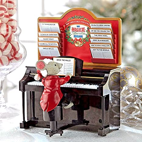 Mr  Christmas Magical Maestro Mouse with Piano Musical Table Top Decoration  #14687