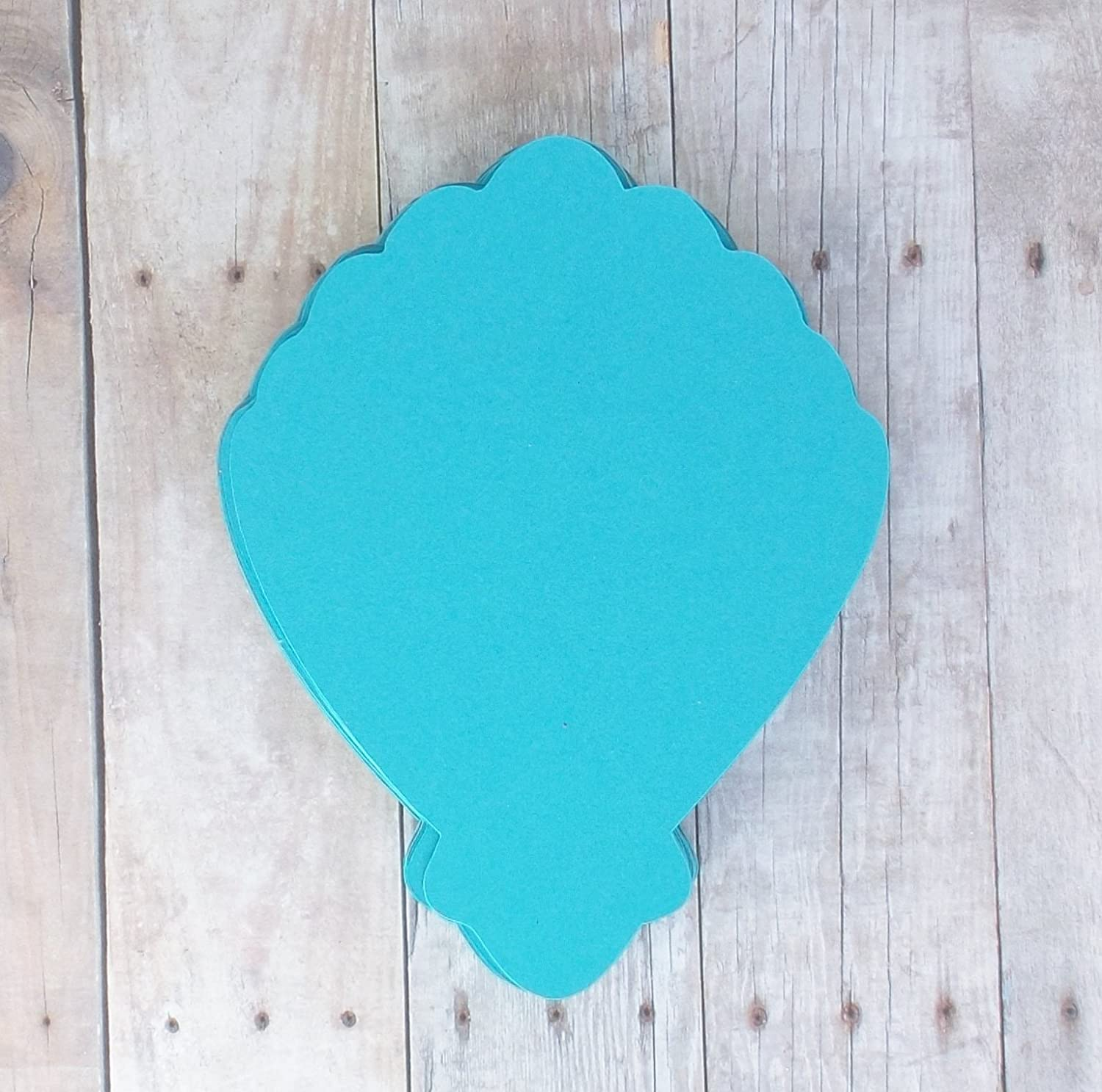 Clam Shell Die Cut Place Cards in Teal Aqua Blue-Table Cards-Food and Drink Labels-Under the Sea Mermaid Party-25 Pieces