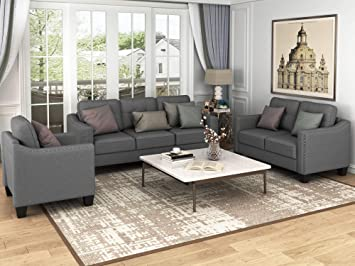 Amazon Com Harper Bright Designs 3 Pieces Living Room Sets Couch Set For Living Room With Sofa Loveseat And Armchair Nail Trim Grey Furniture Decor