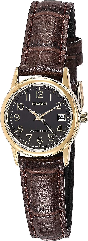 Casio #LTP-V002GL-1B - Reloj de pulsera para mujer, correa de piel dorada, dial fácil de leer, dial con fecha.