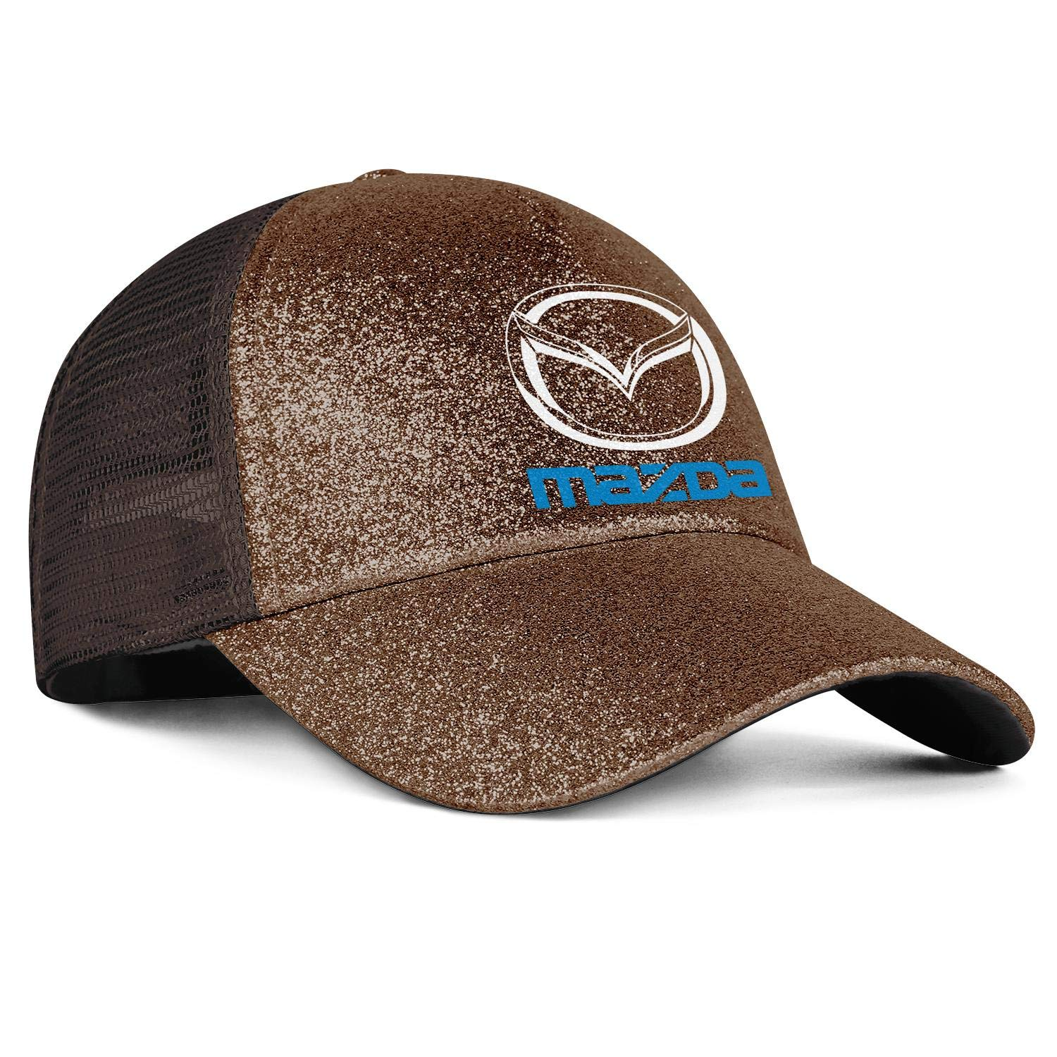 Snapback Adjustable Baseball Caps Sequins Fluorescent Horsetail Mesh Hats Mazda-Logo