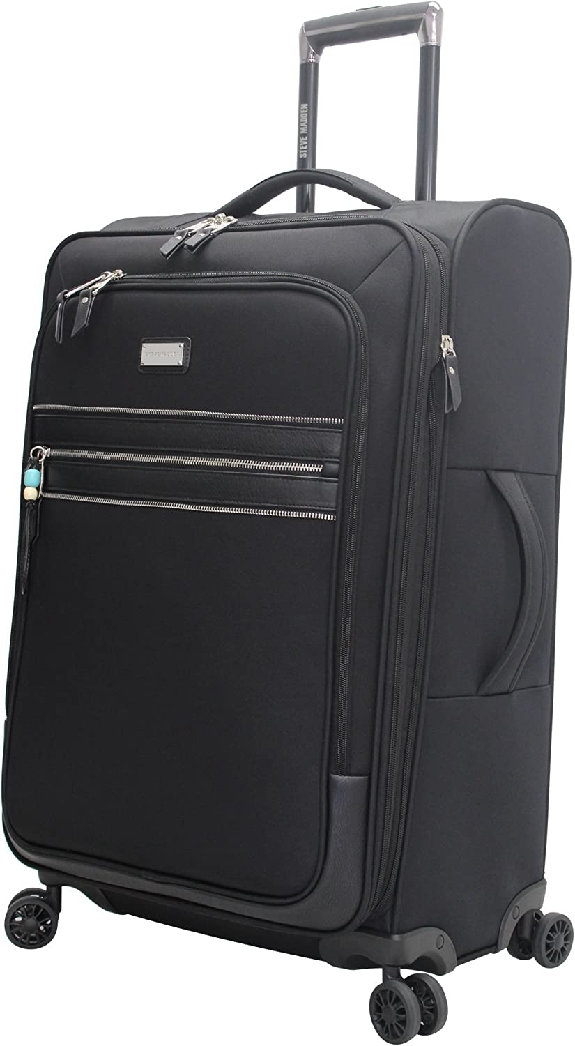 Steve Madden Large Patchwork Expandable Luggage With Spinner Wheels