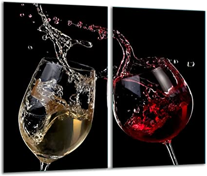 Hob Covers with Knobs Set of 2/Glass Chopping Board Wine