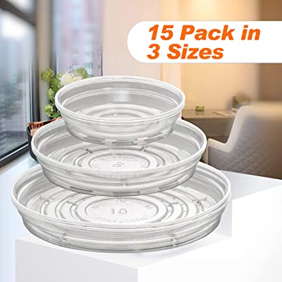 Beneroots 15 Pack (6 inch 8 inch 10 inch) Clear Plant Saucers Flower Pot Drip Pan for Indoor and Outdoor Plants : Garden & Outdoor