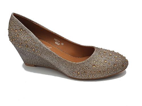 nuovo prodotto 483da e35e0 zeppe eleganti ballerine alte strass dorato oro gold ...