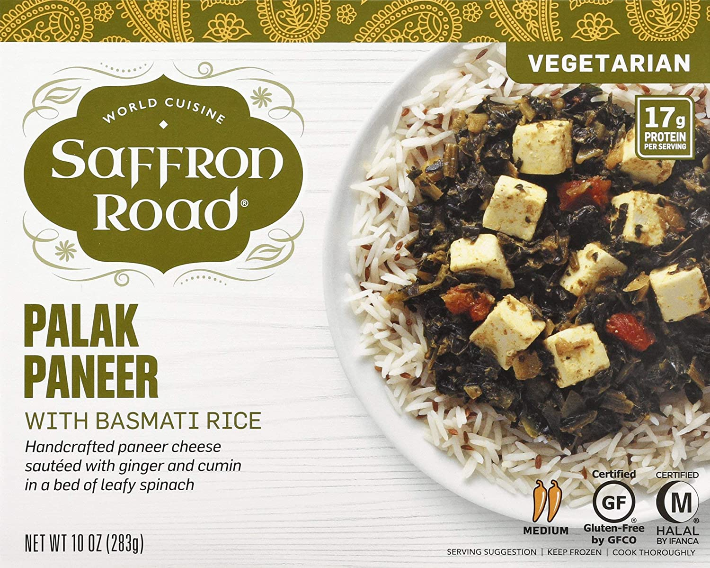 Saffron Road Palak Paneer with Basmati Rice, 10 oz (frozen)